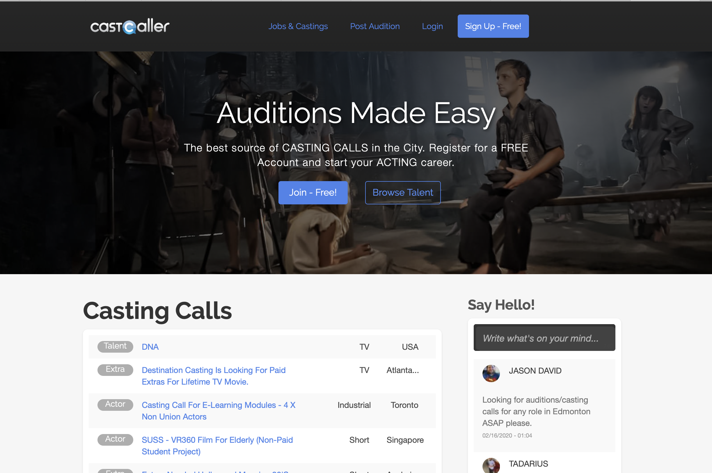 Free audition listings for actors! Find your next job online.