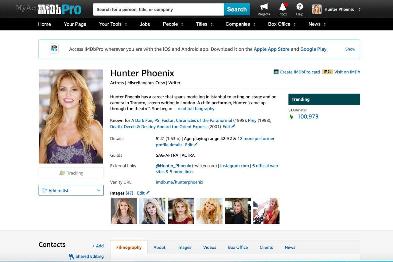 IMDB profile for actress Hunter Phoenix
