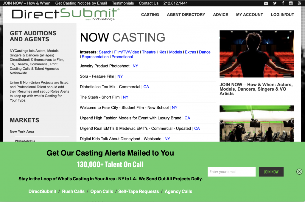 Free audition listings for actors!