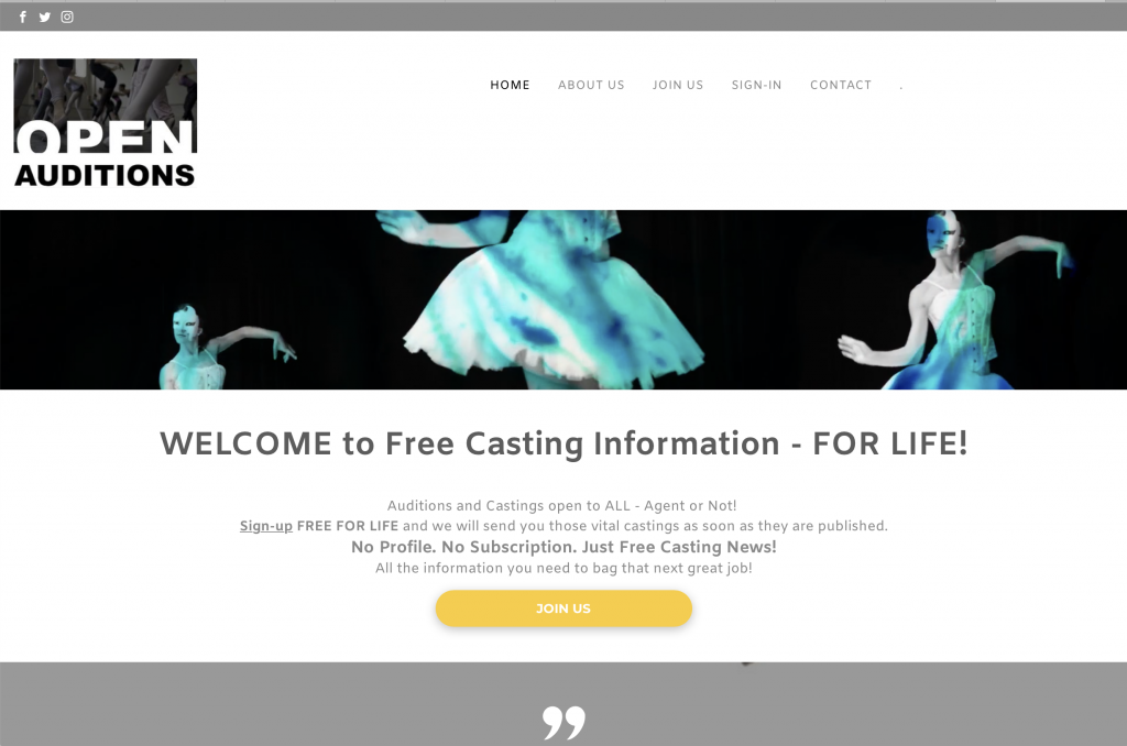 Free audition listing for actors!