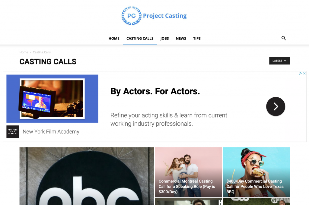 Find online auditions for actors  - totally free!