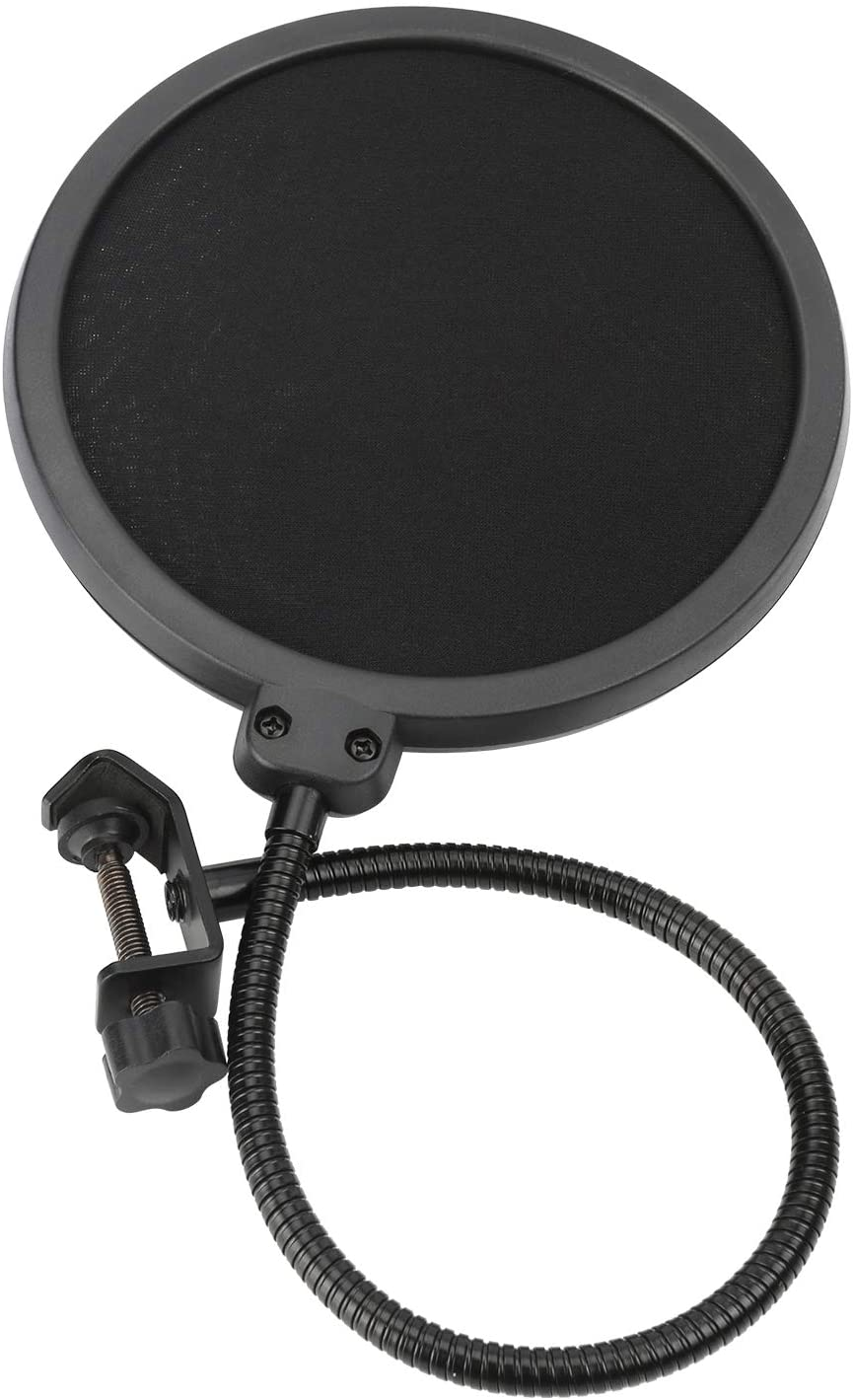 Pop filter, pop screen for voiceover recording. Set up your home recording studio.