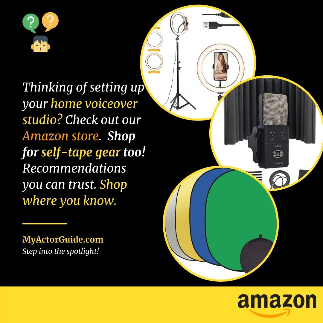 Actor audition gear on Amazon and home studio recording equipment. Find out what you need to get set-up today.