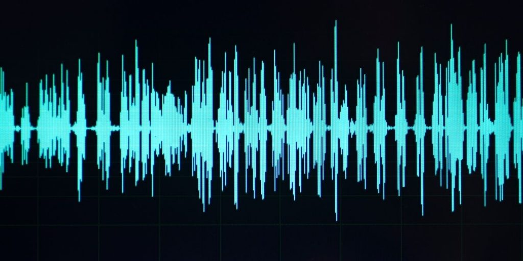 Sound wave of voice over recording. Sample from home recording studio. Learn how to do voiceovers at MyActorGuide.com